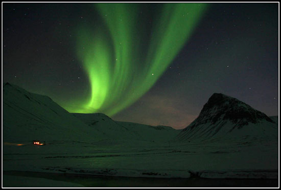 Northern lights in Iceland north west coast
